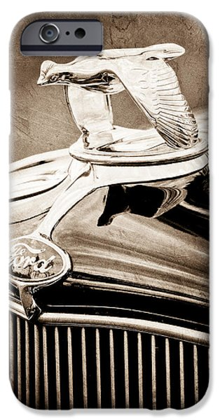 Ford V8 iPhone Cases - 1932 Ford V8 Hood Ornament - Emblem iPhone Case by Jill Reger