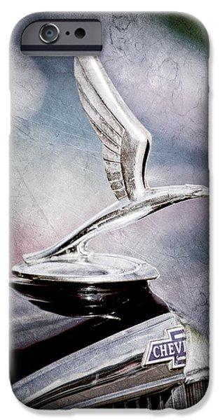 1933 iPhone Cases - 1933 Chevrolet Master Six Eagle Sedan Hood Ornament iPhone Case by Jill Reger