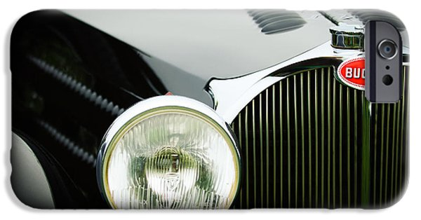 Bugatti Vintage Car iPhone Cases - 1936 Bugatti Type 57S Corsica Tourer Grille Emblem iPhone Case by Jill Reger