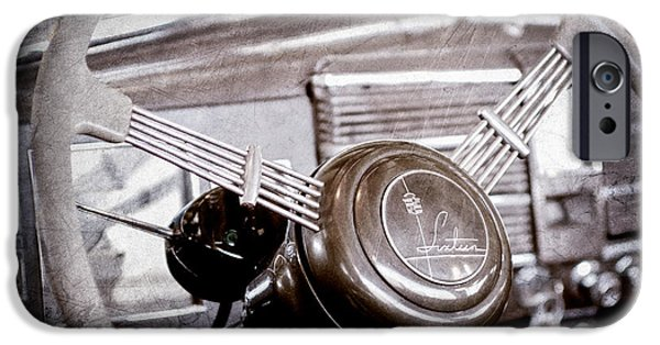 Parade iPhone Cases - 1938 Cadillac V-16 Presidential Convertible Parade Limousine Steering Wheel Emblem iPhone Case by Jill Reger