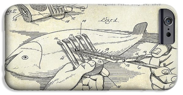 Cape Cod iPhone Cases - 1940 Boning Fish Patent Drawing iPhone Case by Jon Neidert