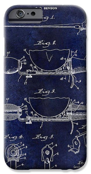 Cape Cod iPhone Cases - 1940 Handle for Fishing Pole Patent Drawing Blue iPhone Case by Jon Neidert