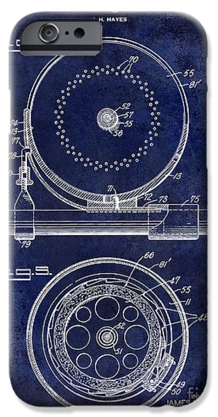 Cape Cod iPhone Cases - 1942 Fishing Reel Patent Drawing Blue iPhone Case by Jon Neidert