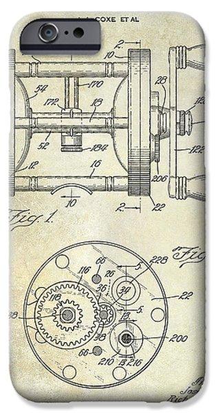 Shark iPhone Cases - 1943 Fishing Reel Patent Drawing iPhone Case by Jon Neidert