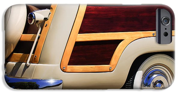 1950 iPhone Cases - 1950 Ford Custom Deluxe Station Wagon Rear End - Woodie iPhone Case by Jill Reger