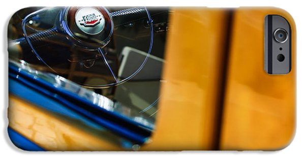 1950 iPhone Cases - 1950 Ford Custom Deluxe Woodie Station Wagon Steering Wheel Emblem iPhone Case by Jill Reger