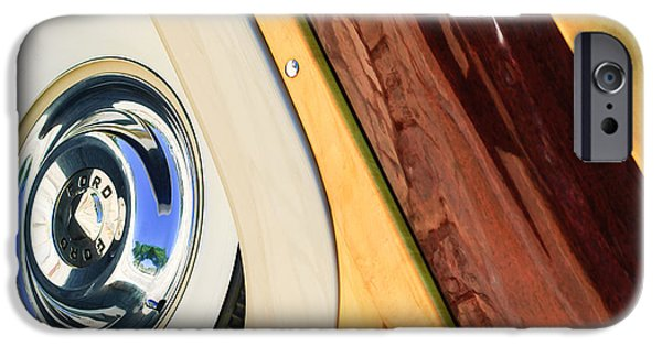 Wagon Wheels Photographs iPhone Cases - 1950 Ford Custom Deluxe Woodie Station Wagon Wheel iPhone Case by Jill Reger