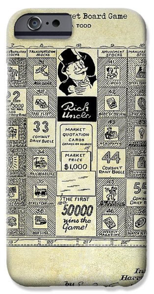 Monopoly iPhone Cases - 1950 Stock Market Game Patent Drawing Blue iPhone Case by Jon Neidert