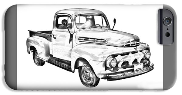 Ford Truck iPhone Cases - 1951 ford F-1 Pickup Truck Illustration iPhone Case by Keith Webber Jr