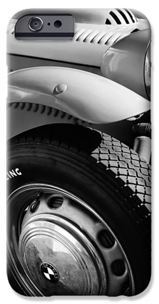 1952 iPhone Cases - 1952 Frazer-Nash Le Mans Replica MkII Competition Model Tire Emblem iPhone Case by Jill Reger