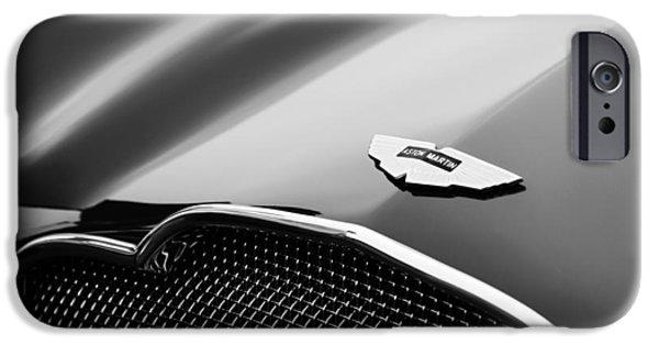 D.w iPhone Cases - 1953 Aston Martin DB2-4 Bertone Roadster Hood Emblem iPhone Case by Jill Reger