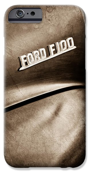 Ford Truck iPhone Cases - 1953 Ford F-100 Pickup Truck Emblem iPhone Case by Jill Reger