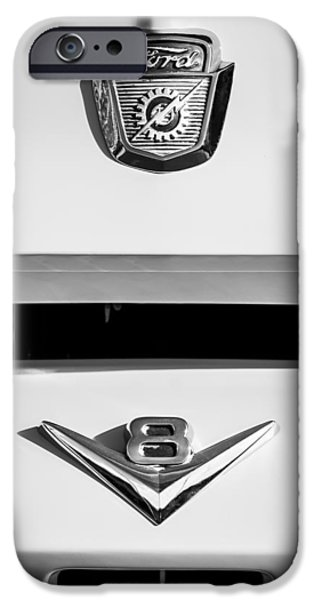 Ford Truck iPhone Cases - 1954 Ford F-100 Custom Pickup Truck Emblems iPhone Case by Jill Reger