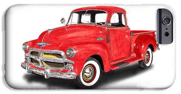 Classic Car Paintings iPhone Cases - 1955 Chevrolet 3100 Pick Up Truck iPhone Case by Jack Pumphrey