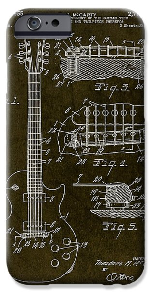 Rocks Drawings iPhone Cases - 1955 Gibson Les Paul Patent Drawing iPhone Case by Gary Bodnar