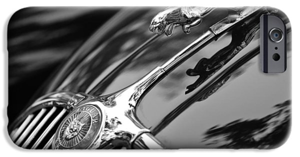 Antique Cars iPhone Cases - 1955 Jaguar Xk 150 Hood Ornament iPhone Case by Jill Reger