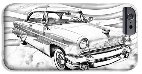 Lincoln iPhone Cases - 1955 Lincoln Capri Luxury Car iPhone Case by Keith Webber Jr