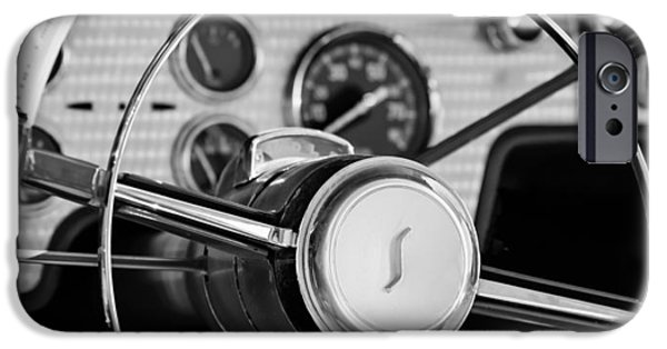 President Photographs iPhone Cases - 1955 Studebaker President Steering Wheel Emblem iPhone Case by Jill Reger