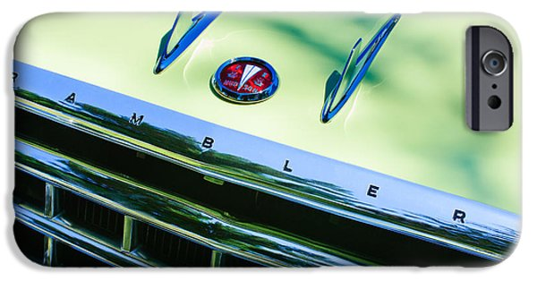 Station Wagon iPhone Cases - 1956 Hudson Rambler Station Wagon Grille Emblem - Hood Ornament iPhone Case by Jill Reger