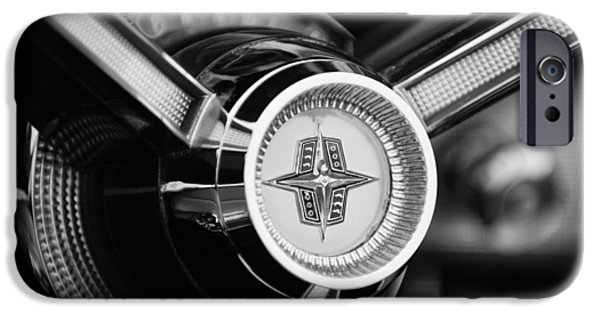 Lincoln iPhone Cases - 1956 Lincoln Continental Mark II Hess and Eisenhardt Convertible Steering Wheel Emblem iPhone Case by Jill Reger