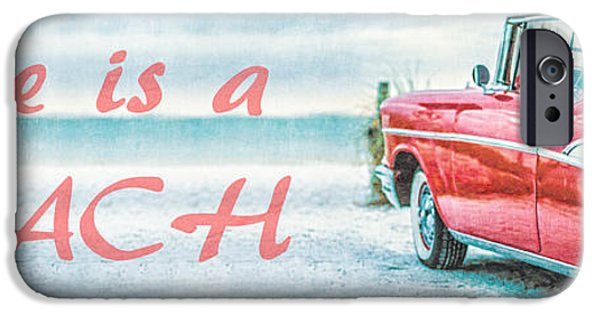 White House iPhone Cases - Life is a Beach 57 Chevy iPhone Case by Edward Fielding