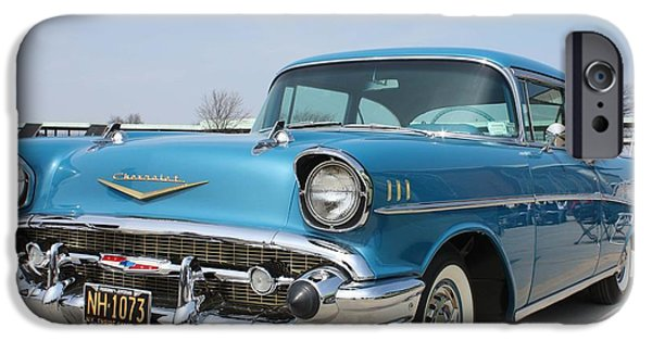 Old Cars iPhone Cases - 1957 Chevy Bel-Air iPhone Case by John Telfer