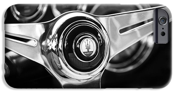 Steering iPhone Cases - 1958 Maserati Steering Wheel Emblem iPhone Case by Jill Reger
