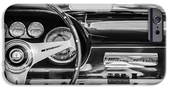 1960 iPhone Cases - 1960 Maserati 3500 GT Spyder Steering Wheel Emblem iPhone Case by Jill Reger