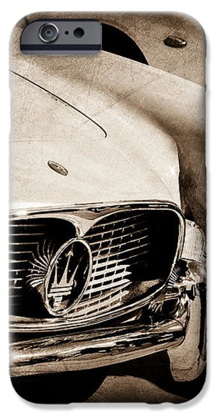 1960 Maserati Grille Emblem iPhone Case by Jill Reger