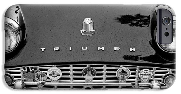 Automotive iPhone Cases - 1960 Triumph TR 3 Grille Emblems iPhone Case by Jill Reger