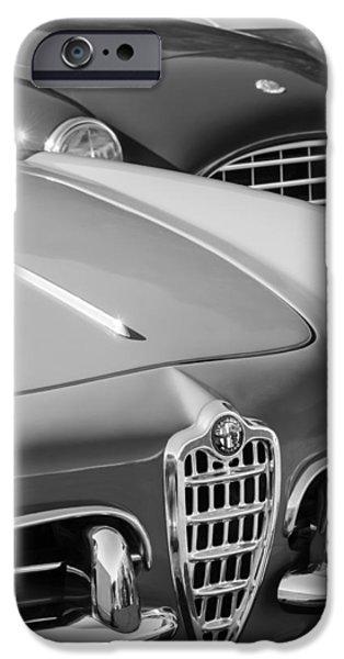 Black Spider iPhone Cases - 1961 Alfa Romeo Giulietta Spider Grille Emblem iPhone Case by Jill Reger