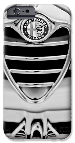 Automotive iPhone Cases - 1962 Alfa Romeo Giulietta Coupe Sprint Speciale Grille Emblem iPhone Case by Jill Reger