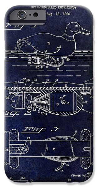 Hunting Bird iPhone Cases - 1963 Duck Decoy Patent Drawing iPhone Case by Jon Neidert