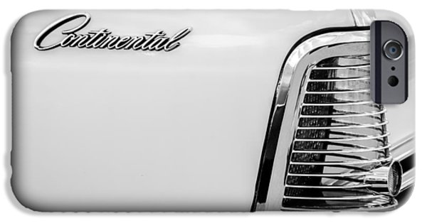 Lincoln iPhone Cases - 1963 Lincoln Continental Taillight Emblem -0905bw iPhone Case by Jill Reger