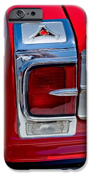 Coronet iPhone Cases - 1965 Dodge Coronet 500 Taillight Emblem iPhone Case by Jill Reger