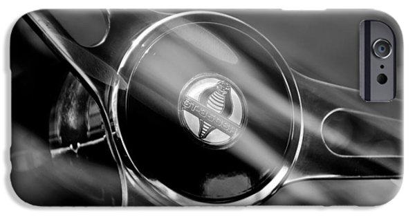 Cobra iPhone Cases - 1965 Ford Mustang Cobra Emblem Steering Wheel iPhone Case by Jill Reger