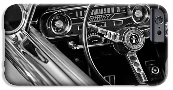 Vintage Cars iPhone Cases - 1965 Shelby prototype Ford Mustang Steering Wheel iPhone Case by Jill Reger
