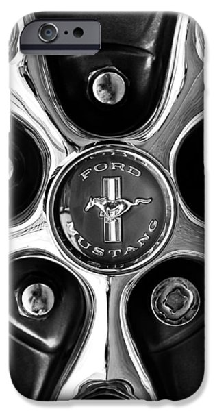 Sports Cars Images iPhone Cases - 1966 Ford Mustang GT Wheel Emblem iPhone Case by Jill Reger