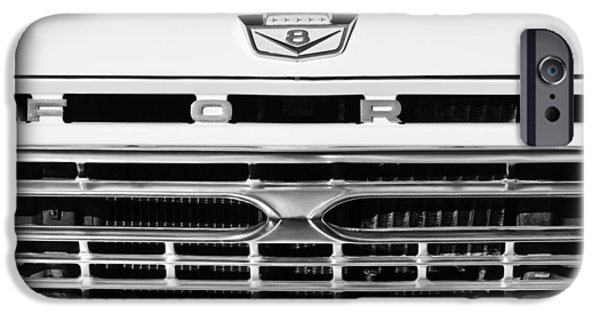 Ford Truck iPhone Cases - 1966 Ford Pickup Truck Grille Emblem iPhone Case by Jill Reger