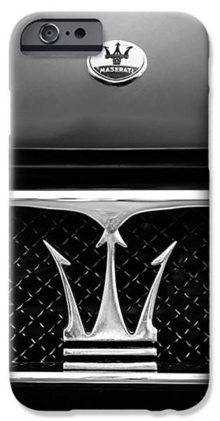 Images Of Cars iPhone Cases - 1967 Maserati Ghibli Grille Emblem iPhone Case by Jill Reger