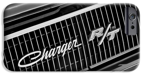 Upgrade iPhone Cases - 1968 Dodge Charger RT Coupe 426 Hemi Upgrade Grille Emblem iPhone Case by Jill Reger