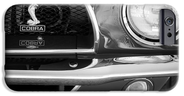 1968 iPhone Cases - 1968 Ford Mustang Fastback 427 CI Cobra Grille Emblem iPhone Case by Jill Reger