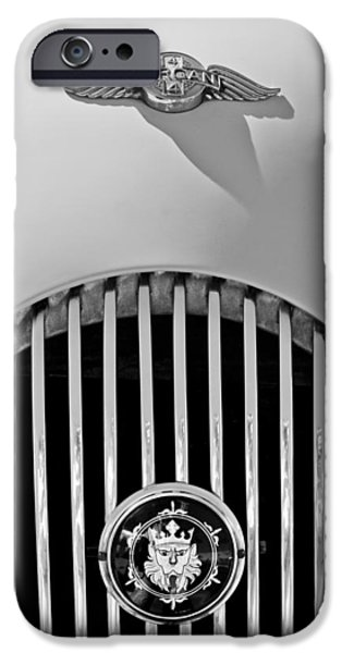 Automotive iPhone Cases - 1969 Morgan Roadster Grille Emblems iPhone Case by Jill Reger