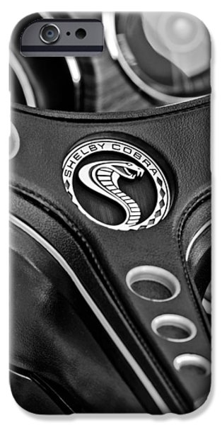 1969 iPhone Cases - 1969 Shelby Gt500 Convertible 428 Cobra Jet Steering Wheel Emblem iPhone Case by Jill Reger
