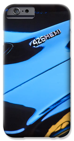 1971 Dodge 426 Hemi Challenger RT Hood Emblem iPhone Case by Jill Reger