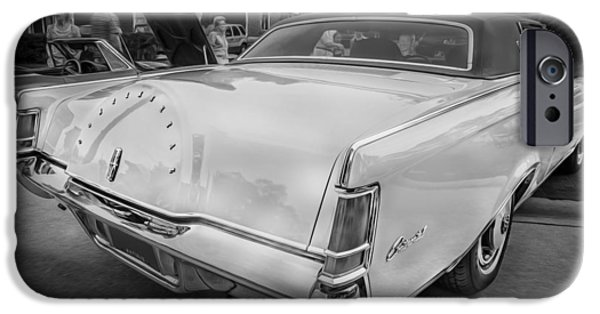 Lincoln iPhone Cases - 1971 Lincoln Continental Mark III Painted BW  iPhone Case by Rich Franco