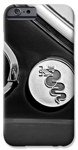 Alfa Romeo Gtv iPhone Cases - 1974 Alfa Romeo GTV Emblem iPhone Case by Jill Reger