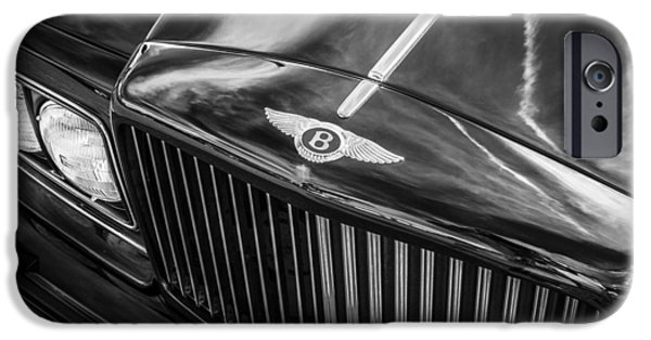 1990 iPhone Cases - 1990 Bentley Turbo R  BW iPhone Case by Rich Franco