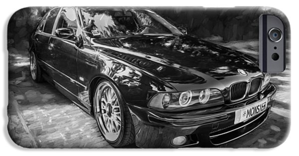 Model iPhone Cases - 1999 BMW 528i Sports Car Painted BW   iPhone Case by Rich Franco
