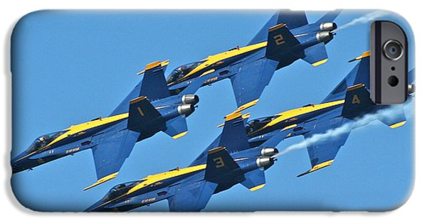 Jet Pyrography iPhone Cases - 1-2-3-4 Blue Angels iPhone Case by DUG Harpster